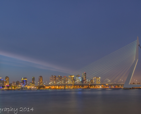 Rotterdam skyline foto by Night - Erasmusbrug by Night | Tux Photography