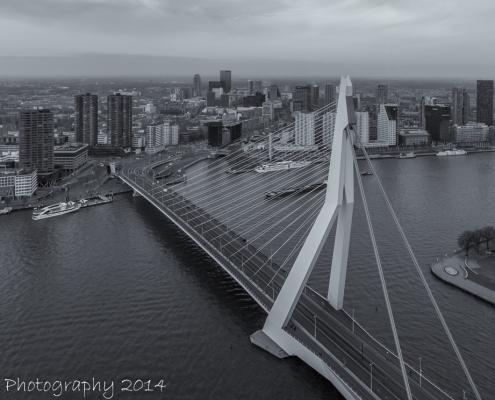 Rotterdam skyline foto - Erasmusbrug zwart-wit | Tux Photography