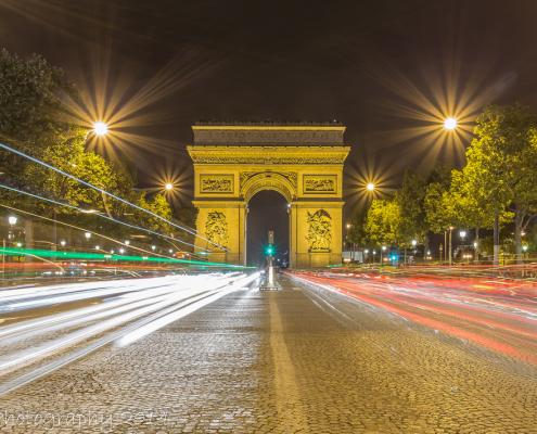 Avondfoto's - Parijs Arc de Triomphe kleur