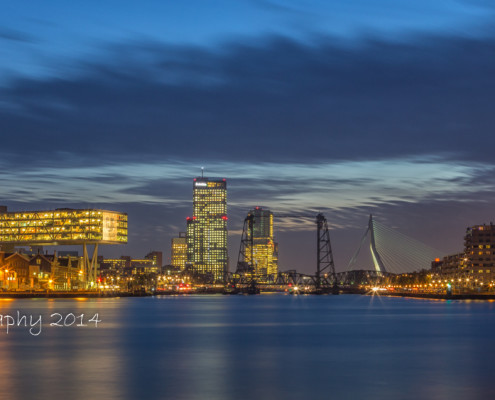 Rotterdam skyline foto by Night- Erasmusbrug - de Hef - Maastoren | Tux Photography
