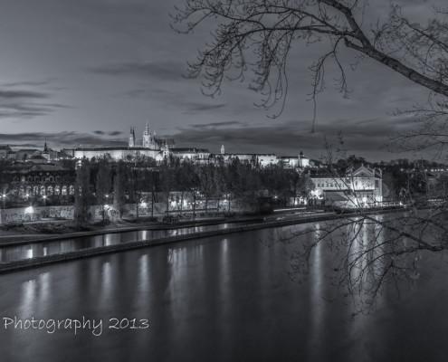 Foto's Praag - Praagse Burcht by night | Zwart-wit foto Tux Photography