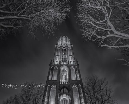Foto's Utrecht - Foto Domtoren avond, stad Utrecht |Zwart-wit foto Tux Photography