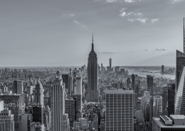 Foto's New York - Top of the Rock - Empire State Building uitzicht | Zwart-wit foto Tux Photography