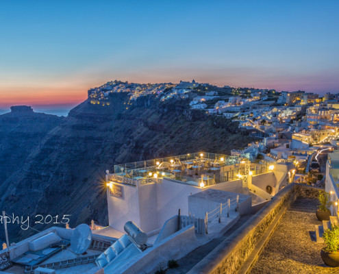 Foto's Santorini - Imerovigli in het blauwe uurtje