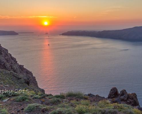 Foto's Santorini - Zonsondergang bij Skaros Rock, Imerovigli