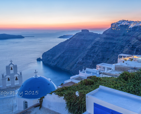 Foto's Santorini - Zonsondergang vanuit Firostefani