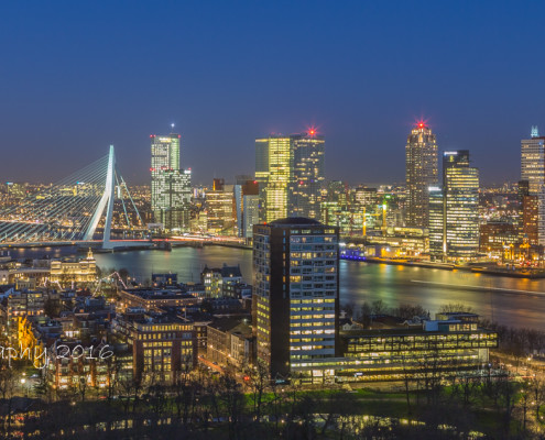 Rotterdam skyline foto by night - Euromast uitzicht | Tux Photography